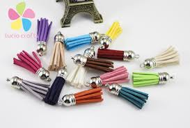 lucia crafts 12pcs 24pcs suede tassel keychain cellphone straps jewelry charms 4cm leather tassels with silver caps 20040403