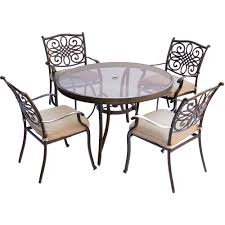 outdoor round dining table. Cambridge Seasons 5-Piece Aluminum Outdoor Dining Set With Round Table And Tan Cushions