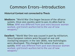 wwi essay reflection common errors introductions historical  3 common