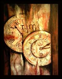 acrylic painting, old rusty clocks by Sheri Locher