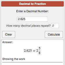 Decimal To Fraction Calculator Chart Decimal To Fraction Calculator