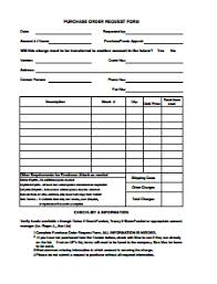Purchase Order Forms Sample Purchase Order Request Form Template Free Download Edit Fill