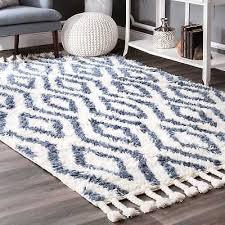 nuloom hand knotted moroccan diamond trellis blue rug 7 6 x 9