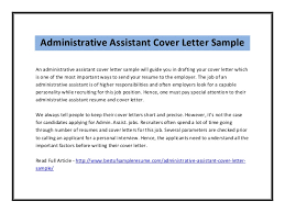 Resume Cover Letter Sample For Administrative Assistant Job Best