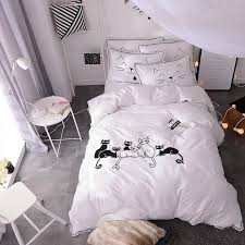 100 cotton duvet cover bed set black white cat bedding sets king bedding set queen pillowcase russia rufamily siz queen size comforter set twin comforter