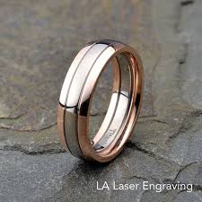gold plated titanium wedding band. personalized engraved titanium grooved rose gold plated ring polished wedding band 6mm width