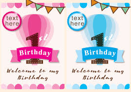 Free Downloadable Birthday Cards Invitation 1st Birthday Girl And Boy Download Free Vector Art