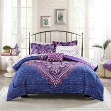 Amazon.com: Mainstays Teens' Grace Purple Floral Reversible Medallion  Bedding Twin/Twin XL Comforter Sets for Girls (6 Piece in a Bag): Home &  Kitchen
