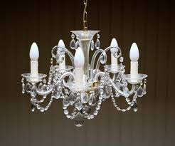 Branch Chandelier French Cut Glass 5 Branch Chandelier C 1950 France From Worboys