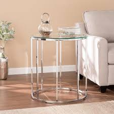selma chrome round end table with glass top