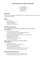 resume examples  examples of resume skills resume examples for        resume examples  banking executive resume example for objective with skills and working experience  examples