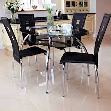 ... Contemporary Black Dining Room Furniture Set Ideas For New Home  Featuring Round Glass Top Table With ...