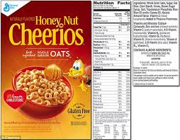cheerios shows the cur packaging and nutritional facts for honey nut cheerios the
