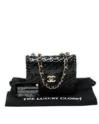chanel black glazed wicker mini vintage flap bag lyst