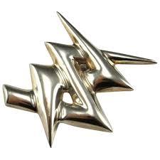 lightning bolt pendant brooch pin sterling silver lightning jewelry argentum ruby lane