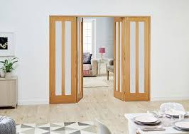 aston oak frenchfold room divider frosted