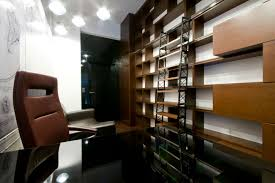 apartment home office. Wood Wall Shelving Units Small Home Office Modern Apartment Design For Spaces With Brown Leather