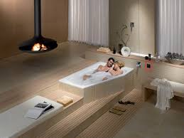 Enamour Design Small Bathtub Ideas Bathtub Cream Color Wooden Deck  Rectangle Shape Wooden Bench Glass Windows