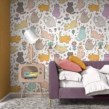 Peel and Stick Wallpaper, Cute Cats ...