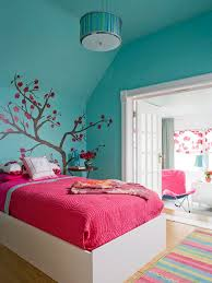 Pink And Green Walls In A Bedroom Cherry Blossom Wall Decor And Bluish Green Wall For Chic Teenage