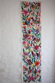 MEXICAN HANDEMBROIDERED RUNNER OTOMI TEXTILE ART WALL DECOR TABLE RUNNER &  LINES - Latin - Mexican
