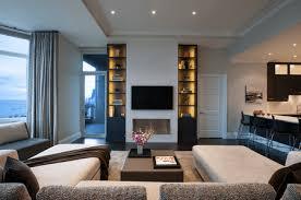 contemporary living room with narrow built ins