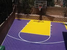 custom outdoor basketball court purple yellow lakers