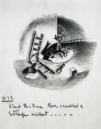 animal farm  squealer sprawls at the foot of the end wall of the big barn where the seven commandments were written ch viii preliminary artwork for a 1950 strip