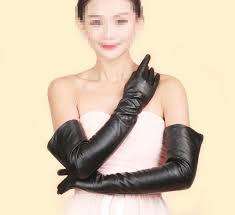 women long genuine sheep leather winter elbow opera evening gloves silk lining