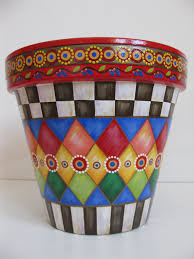 whimsical flowers terracotta planter country checd design flower pot hand painted pottery check and diamond pattern