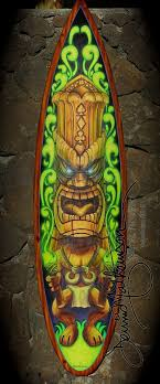 this collectable hand painted tiki image on a full size surf board make a great wall on tiki metal wall art with tiki surf board wall art dennis mathewson art