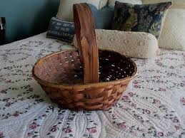 vintage primitive hand made wooden birch basket with handle