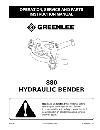 Greenlee 881 Table Bender Chart 880 Hydraulic Bender Operation Service And Parts
