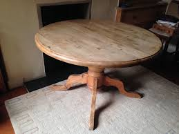 antique pine round dining table extends to oval large pedestal very solid