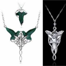 details about lotr lord of the rings arwen evenstar elven leaf crystal green pendant necklace