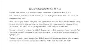 sample of obituary obituary template for mother 7 free word excel pdf format