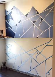 Abstract Wall Design. I used one roll of painter's tape and two shades of  blue