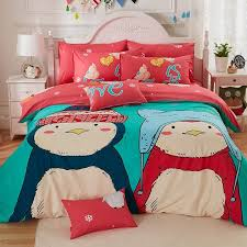 personalized c red beige turquoise and dark teal penguin print cartoon character cute kids 100 cotton full queen size bedding sets