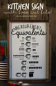 Kitchen Measurement Equivalent Sign With Free Cut File A
