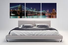 New York Skyline Wallpaper For Bedroom 3 Panel Split New York Skyline Panoramic Canvas Print