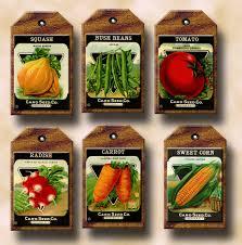 Kitchen Garden Seeds Vegetable Seed Packets Primitive Vintage Art Tags Labels Cards