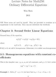 chapter 3 second order linear equations general form of the equation a 2