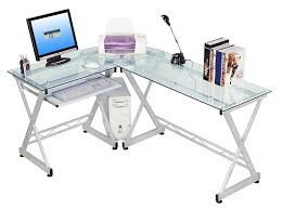 com tempered glass l shape corner desk with pull out keybaord panel color clear kitchen dining