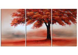 designart red tree in solitude 3 piece painting on wrapped canvas set reviews wayfair