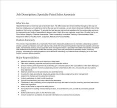 sales associate job description templates – free sample    specialty paint sales associate example job description free download
