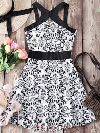 dresses cross design printed hollow out