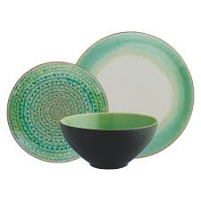 sintra green  piece dinner set  buy now at habitat uk