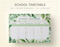School Schedule Template Cool Printable School Timetable School Schedule Printables Etsy