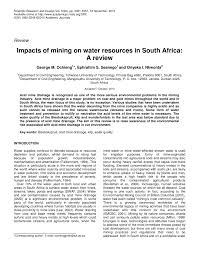 impacts of mining on water resources in south africa a review impacts of mining on water resources in south africa a review pdf available