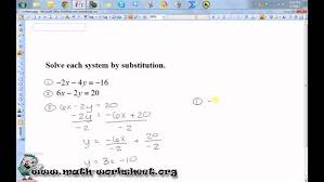 algebra systems of equations and inequalities solving by system worksheet answer key algebra substitution hard
